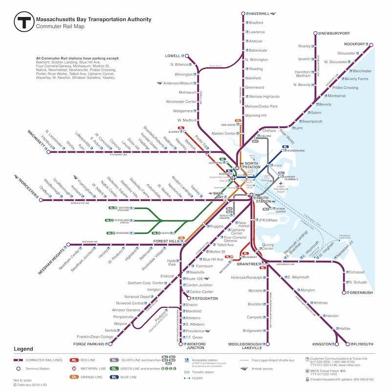 Map of all Commuter Rail lines, with subway lines also featured less prominently