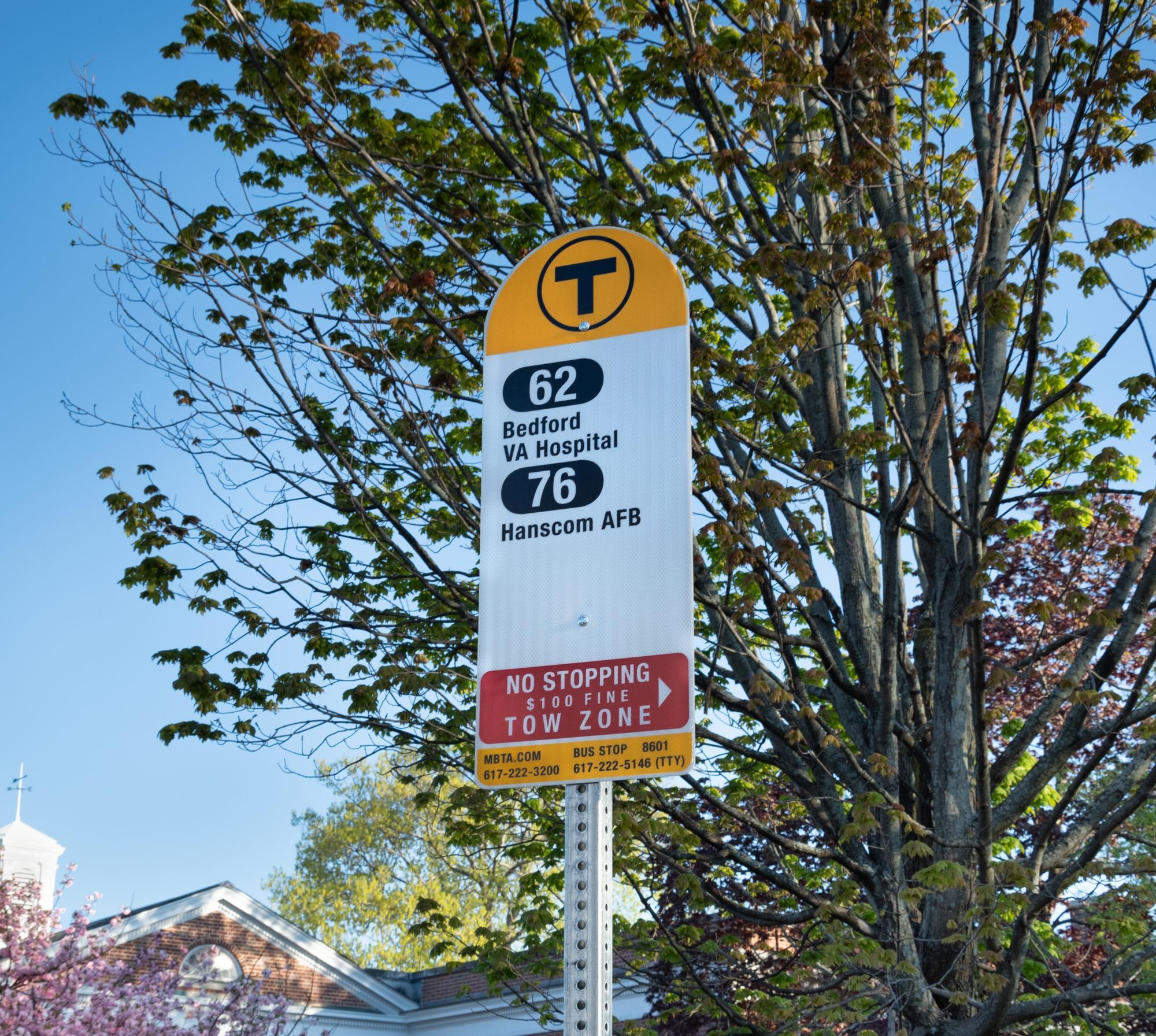 mbta bus stop sign routes 62 and 76