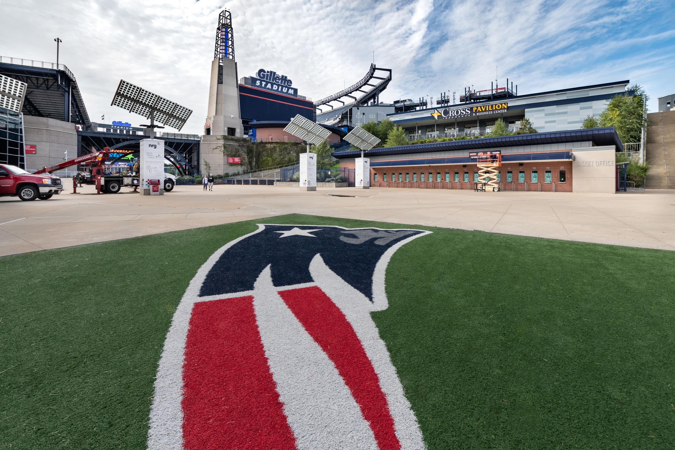 View of Gillette Stadium with the Patriots logo