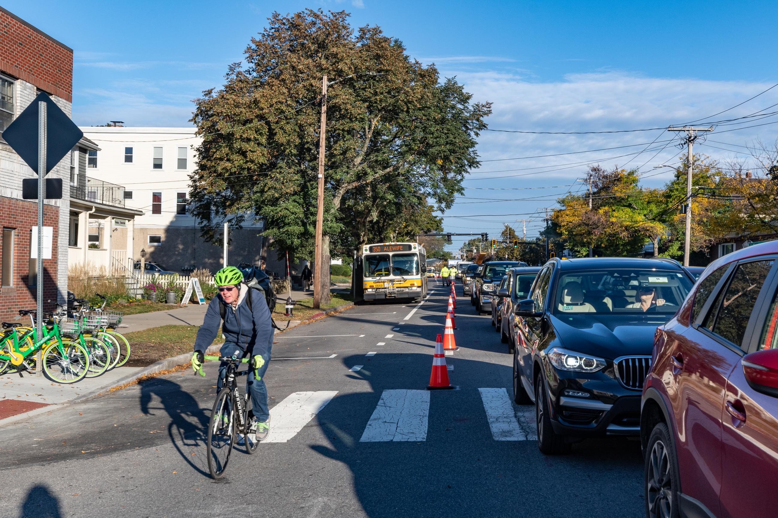 Bus lane on Massachusetts Ave in Arlington (October 2018)