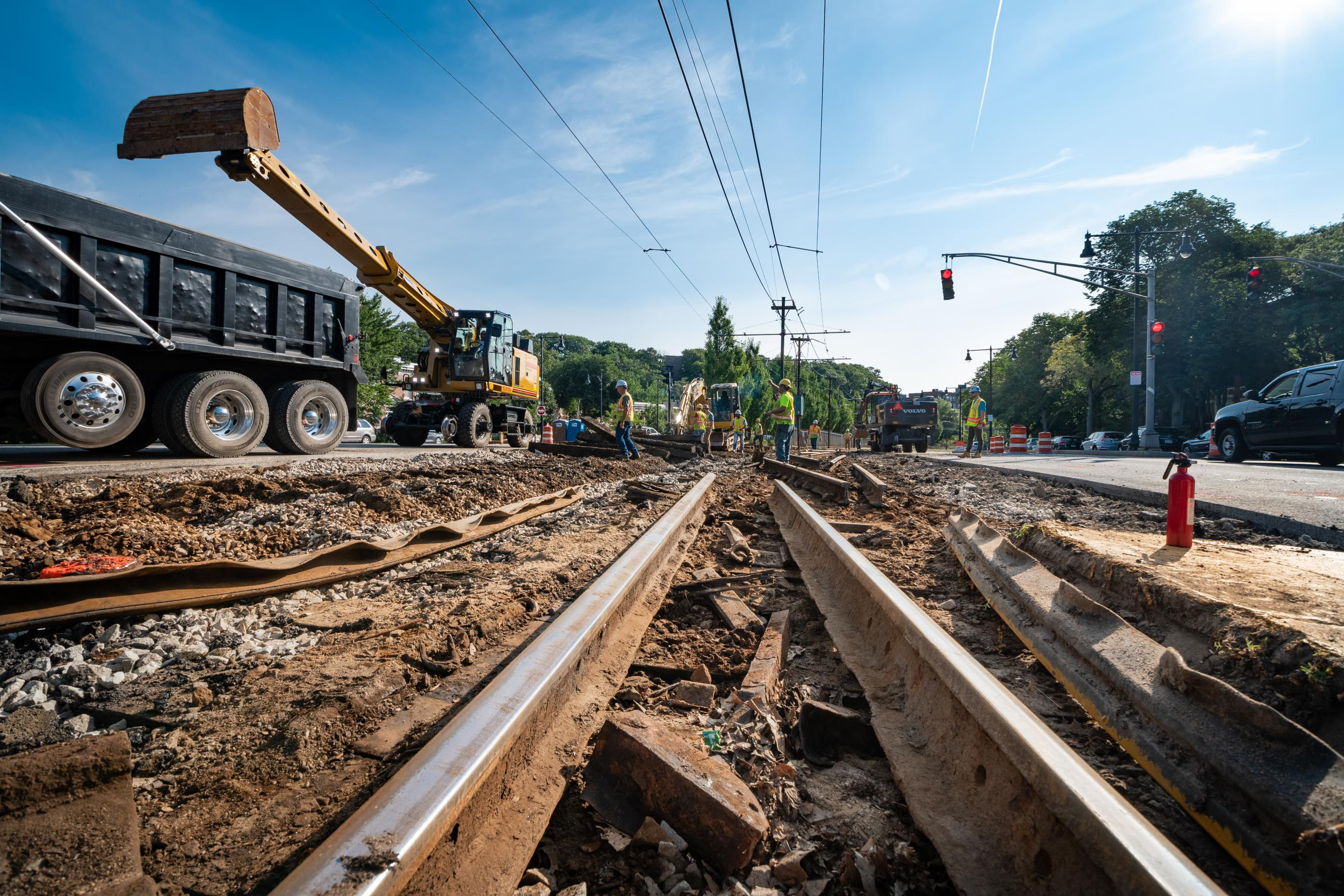 Track work on the Green Line B Branch during summer 2018.