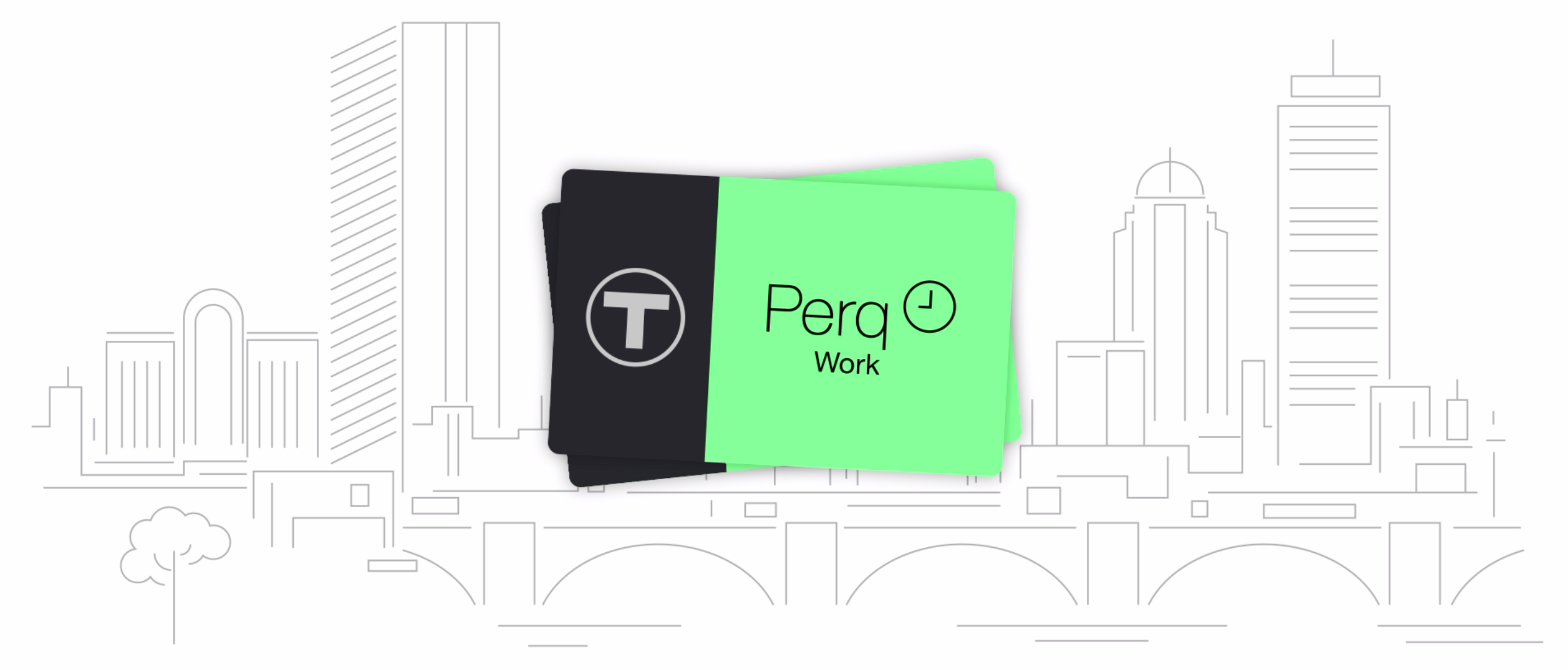 Perq Work cards with and outline of the cityscape as background