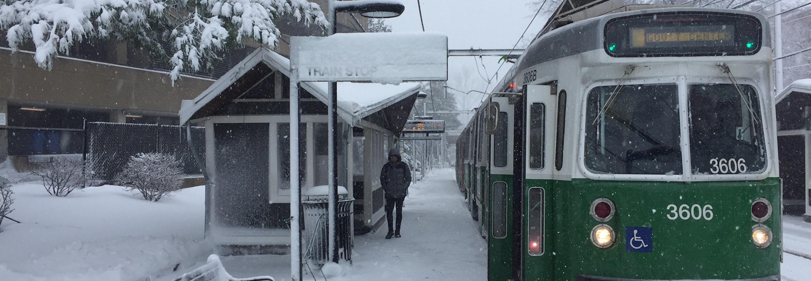 green line at brookline hills snow