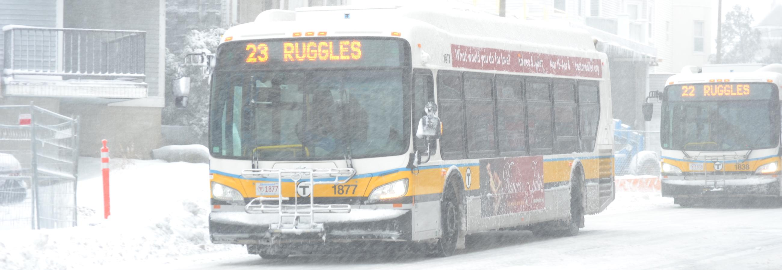 23 bus to ruggles in snow