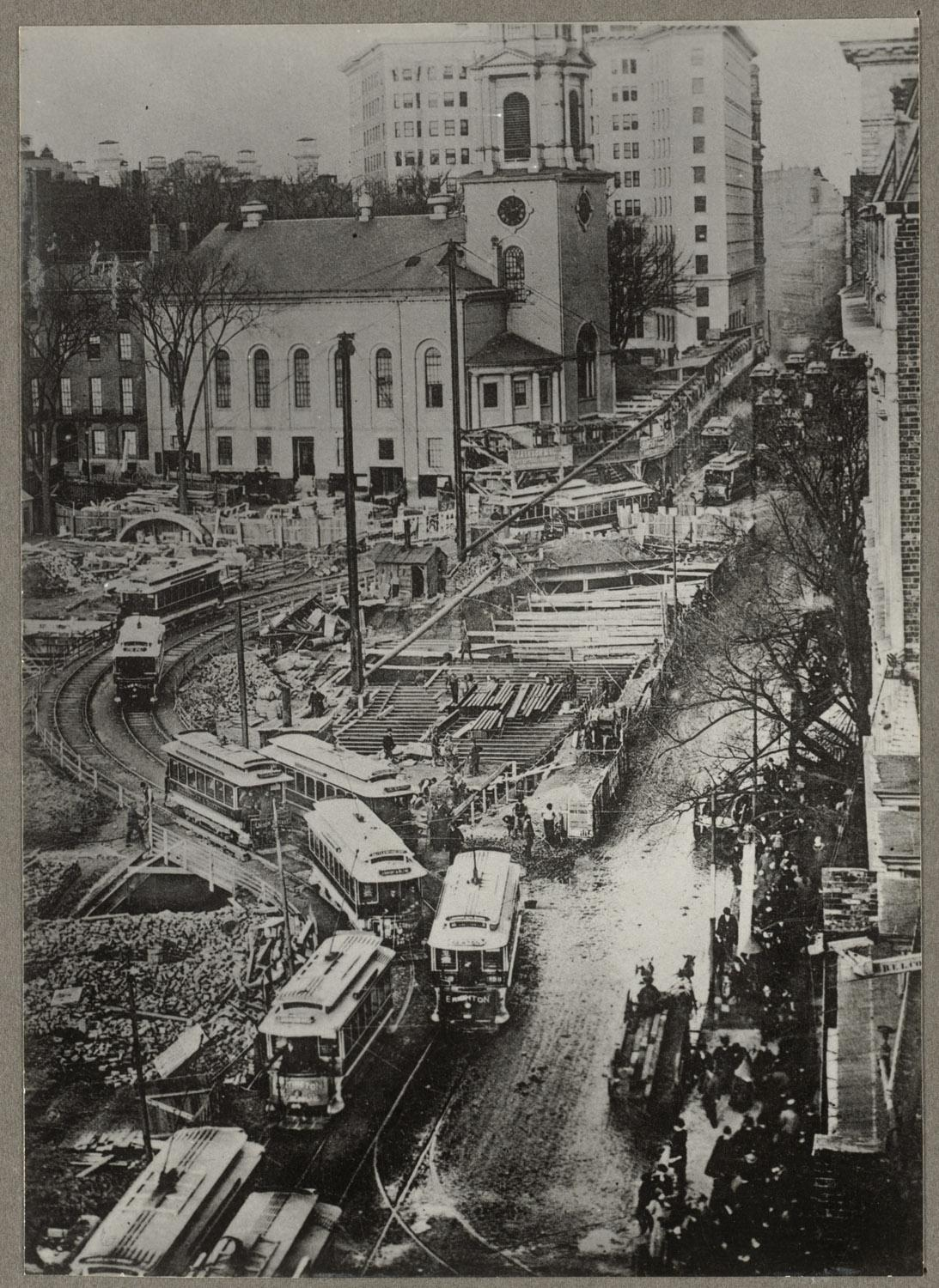 Park Street station construction in 1890s