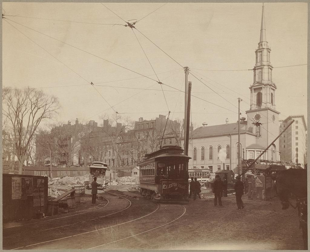 Trolley at Tremont and Park in 1800s
