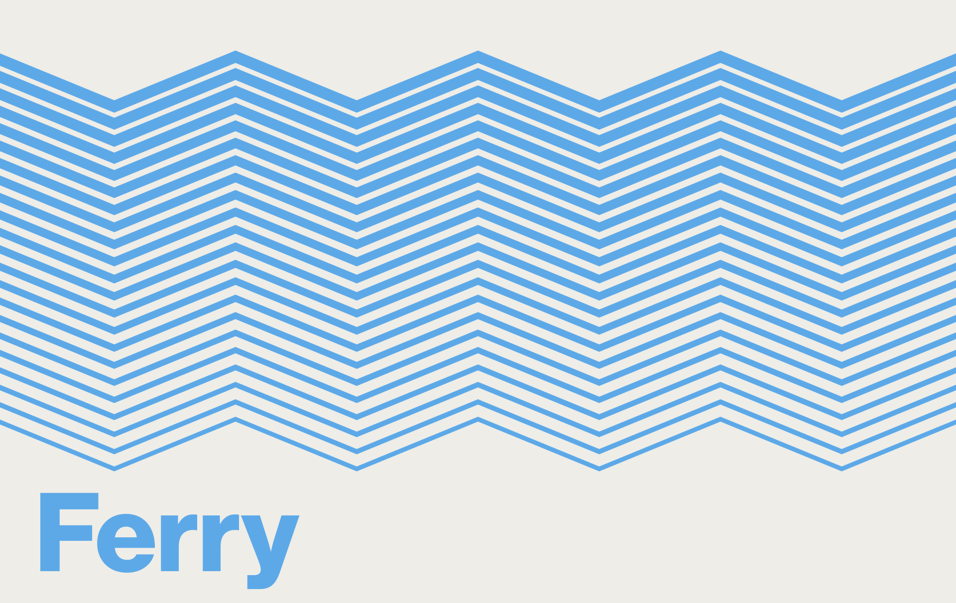 Clickable graphic resembling blue waves. Text: Ferry