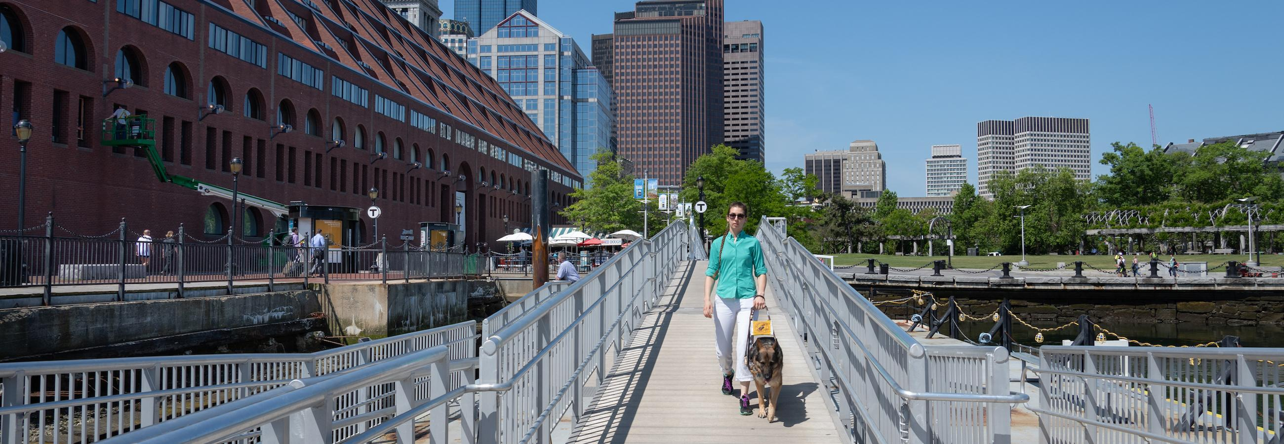 customer entering mbta ferry dock with guide dog