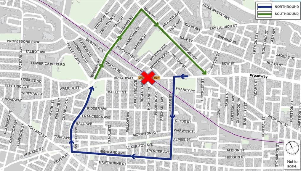 Map of traffic detour around Broadway Bridge in Somerville