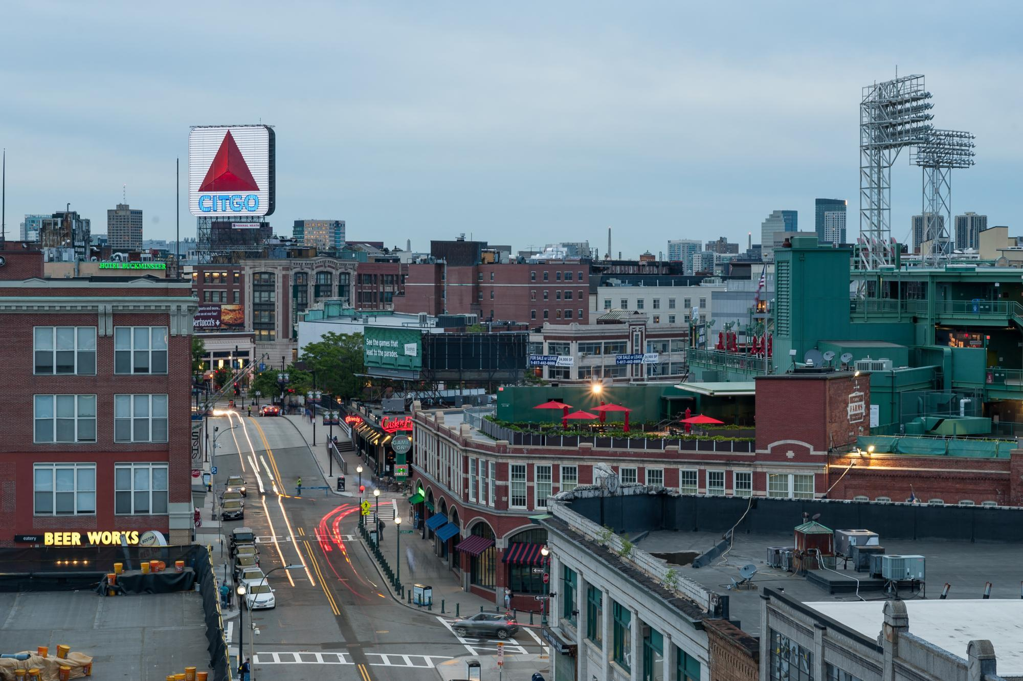 Fenway area, with the park to the right and the CITGO sign in the background.