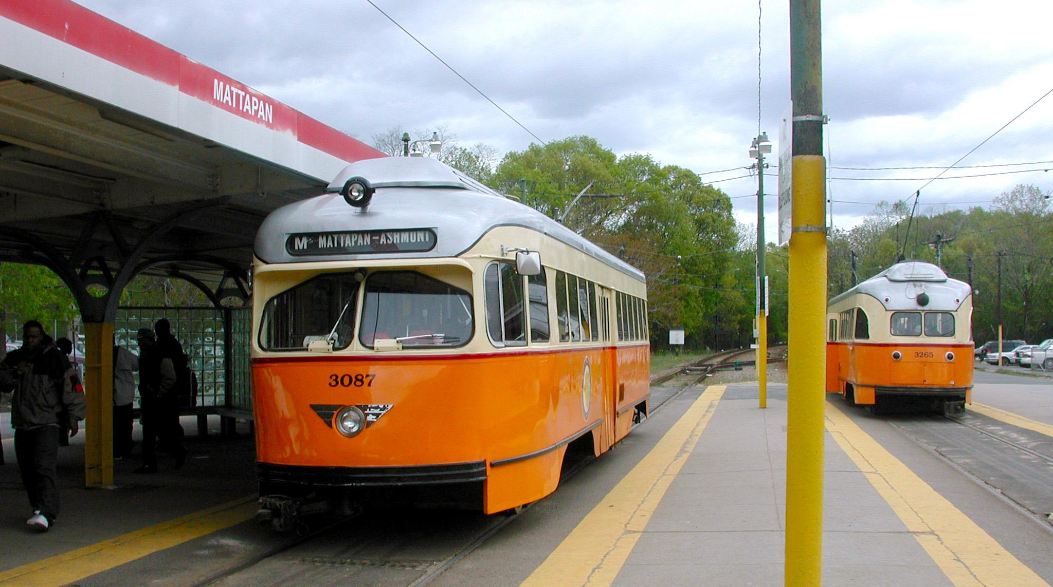 Two trolley cars at the Mattapan stop on the Mattapan Line