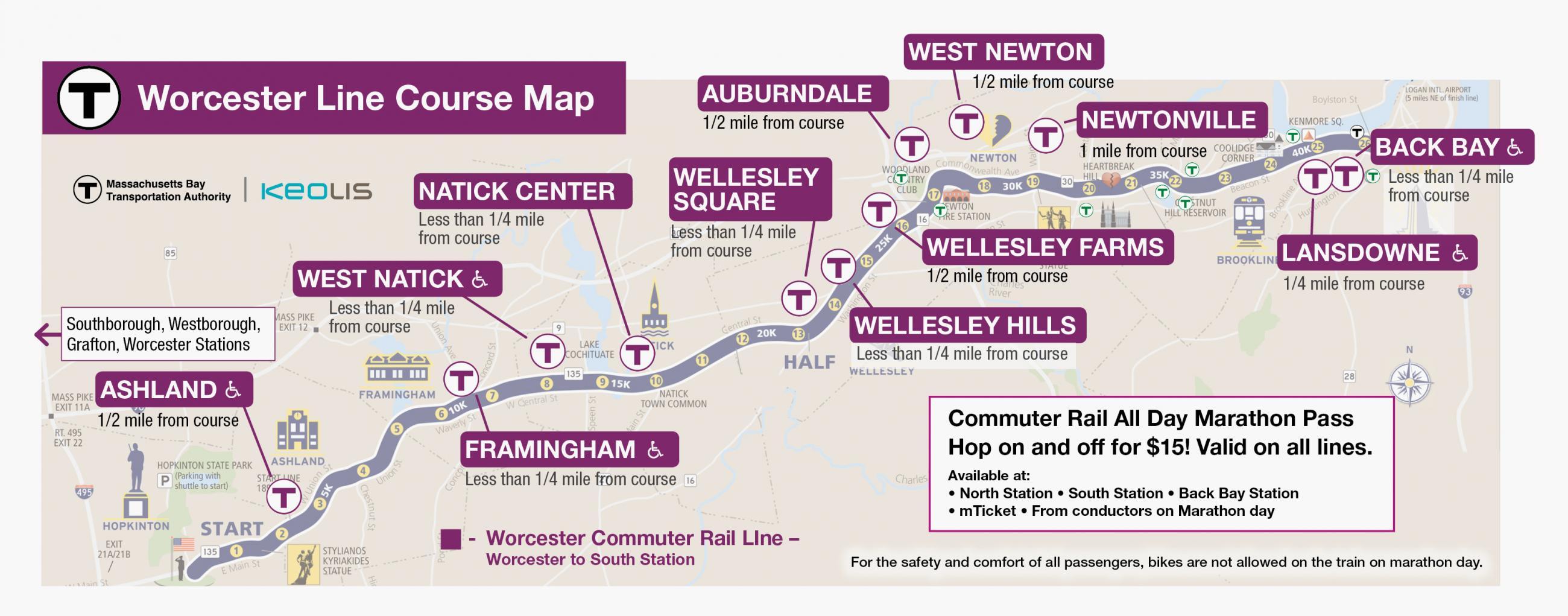 Marathon Worcester Line Map