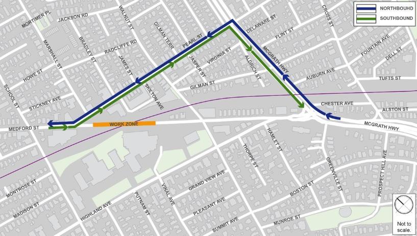 Map of Medford Street Bridge Closure Traffic Detour