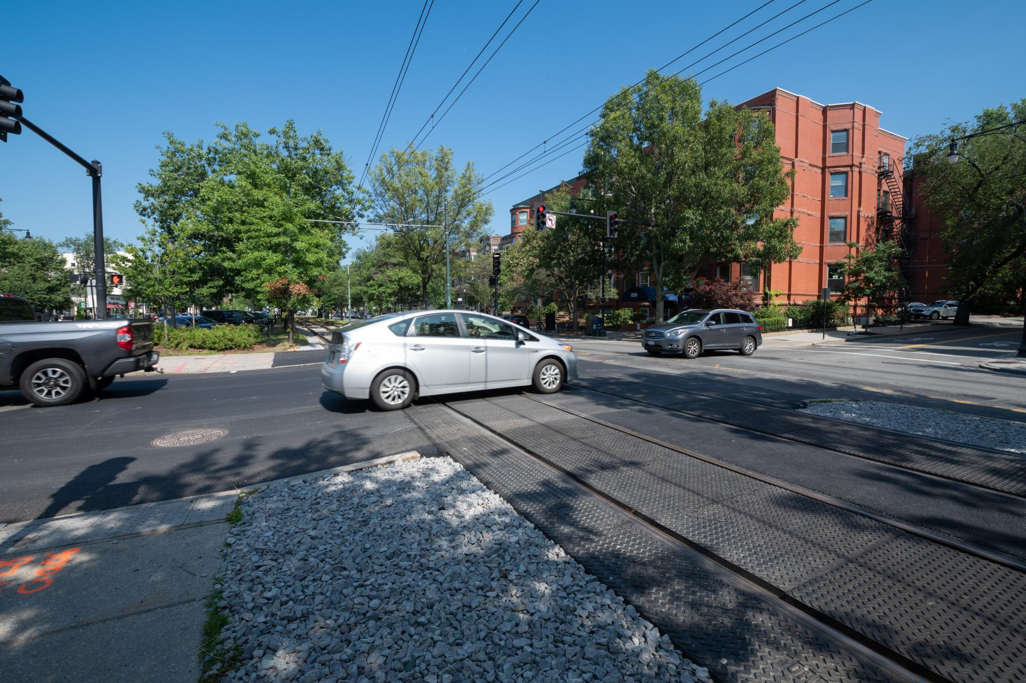 C Line intersection at Carlton and Beacon streets, after intersection upgrade completed