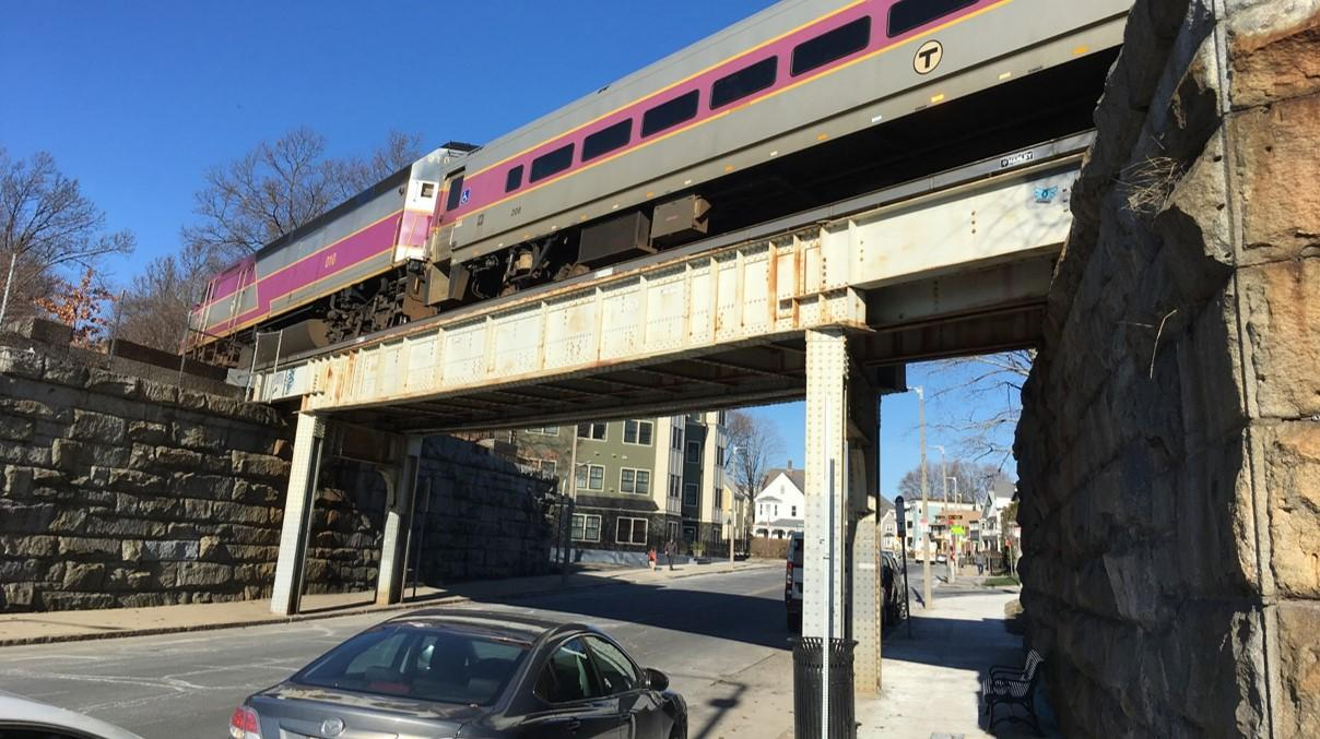 The Needham Line runs over the Robert Street Bridge near Roslindale Village