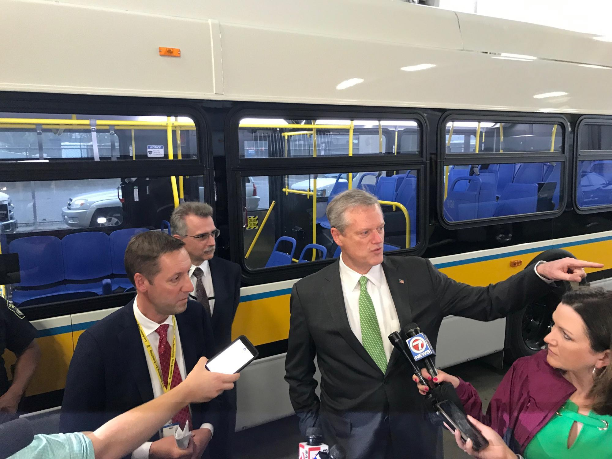 GM Poftak and Governor Baker at the battery-electric bus event