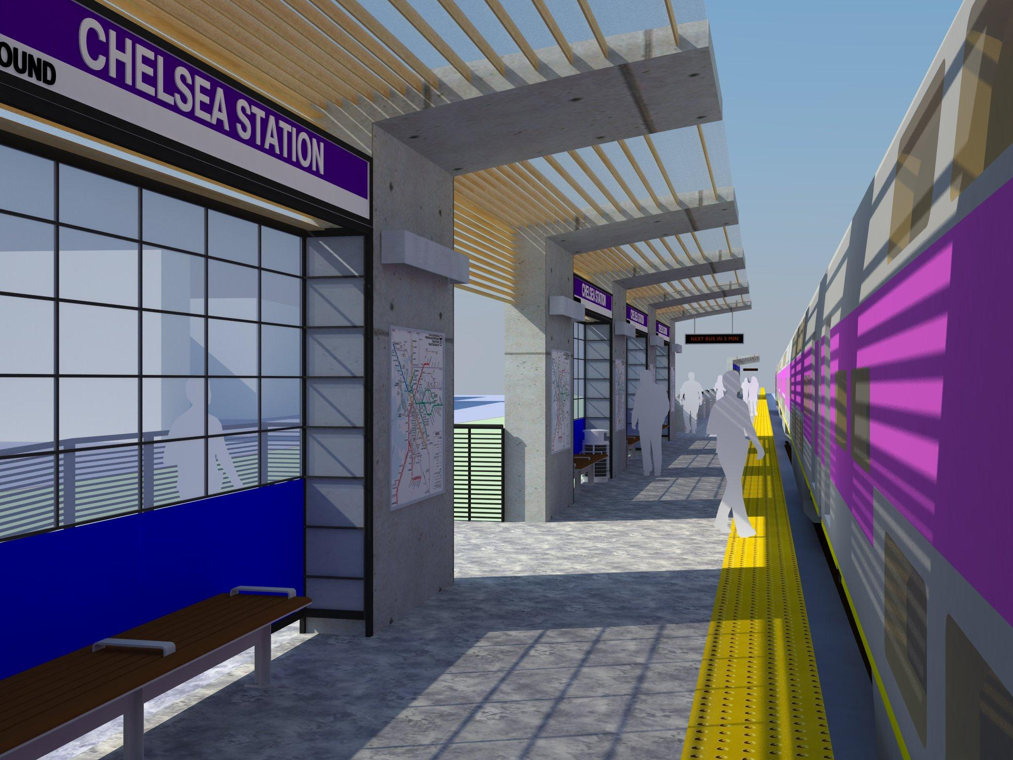 A rendering of the new Chelsea Commuter Rail Station, with a closeup view of the platform, canopy, and train pulled up.