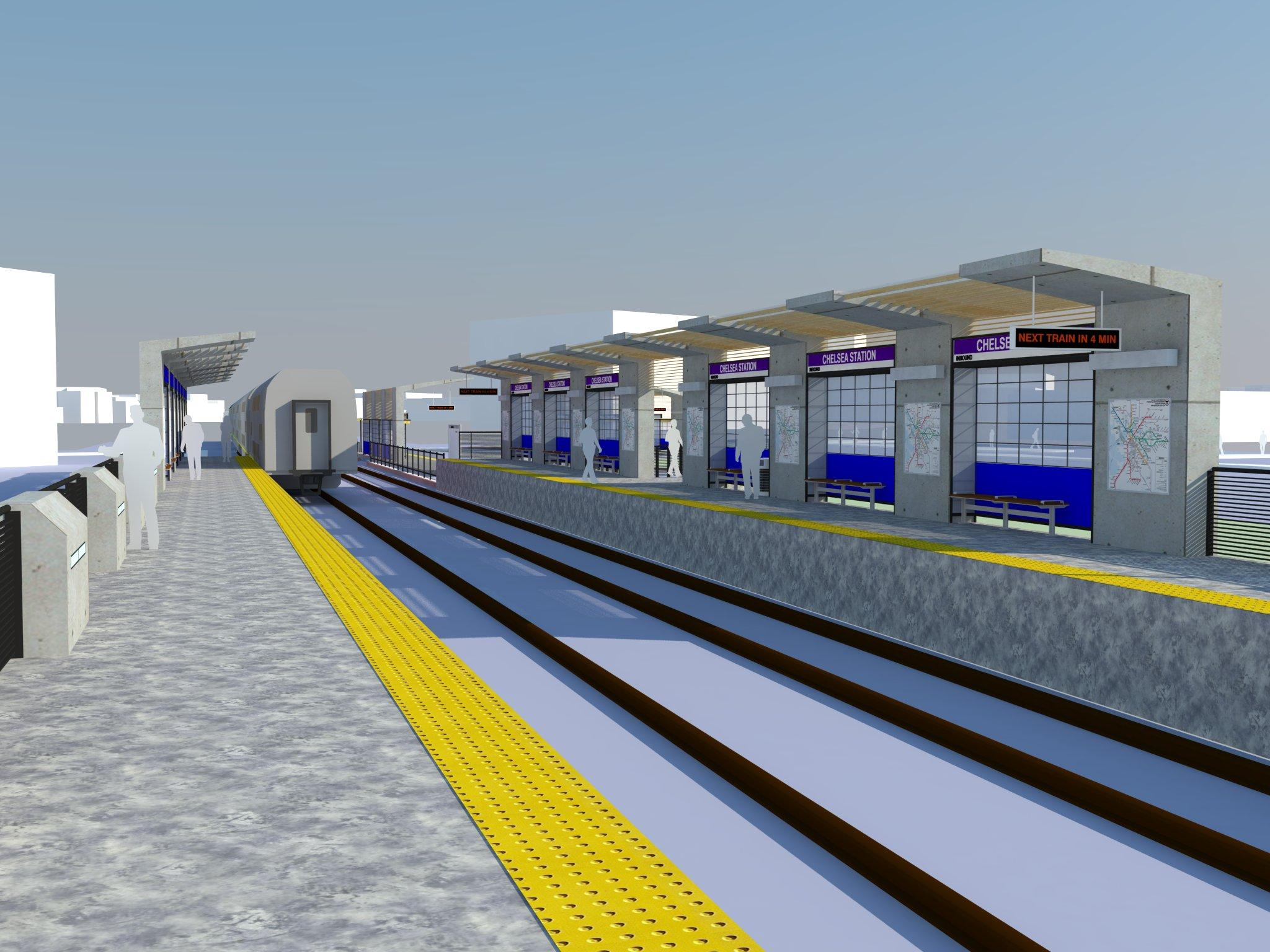 A rendering of the new Chelsea Commuter Rail Station, with a full view of the platfrom from afar