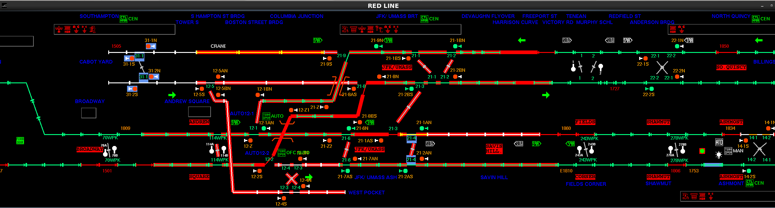 The screen at the Operations Control Center after the derailment, showing multiple areas highlighted in red, indicating code failure for signals and switches on the Red Line.