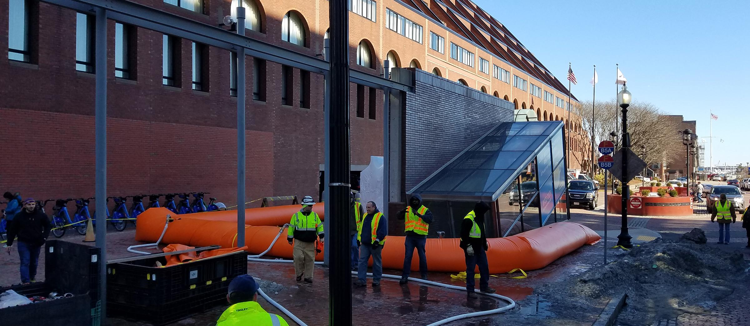 Tiger dams tested for flooding prevention at Aquarium Station in 2019