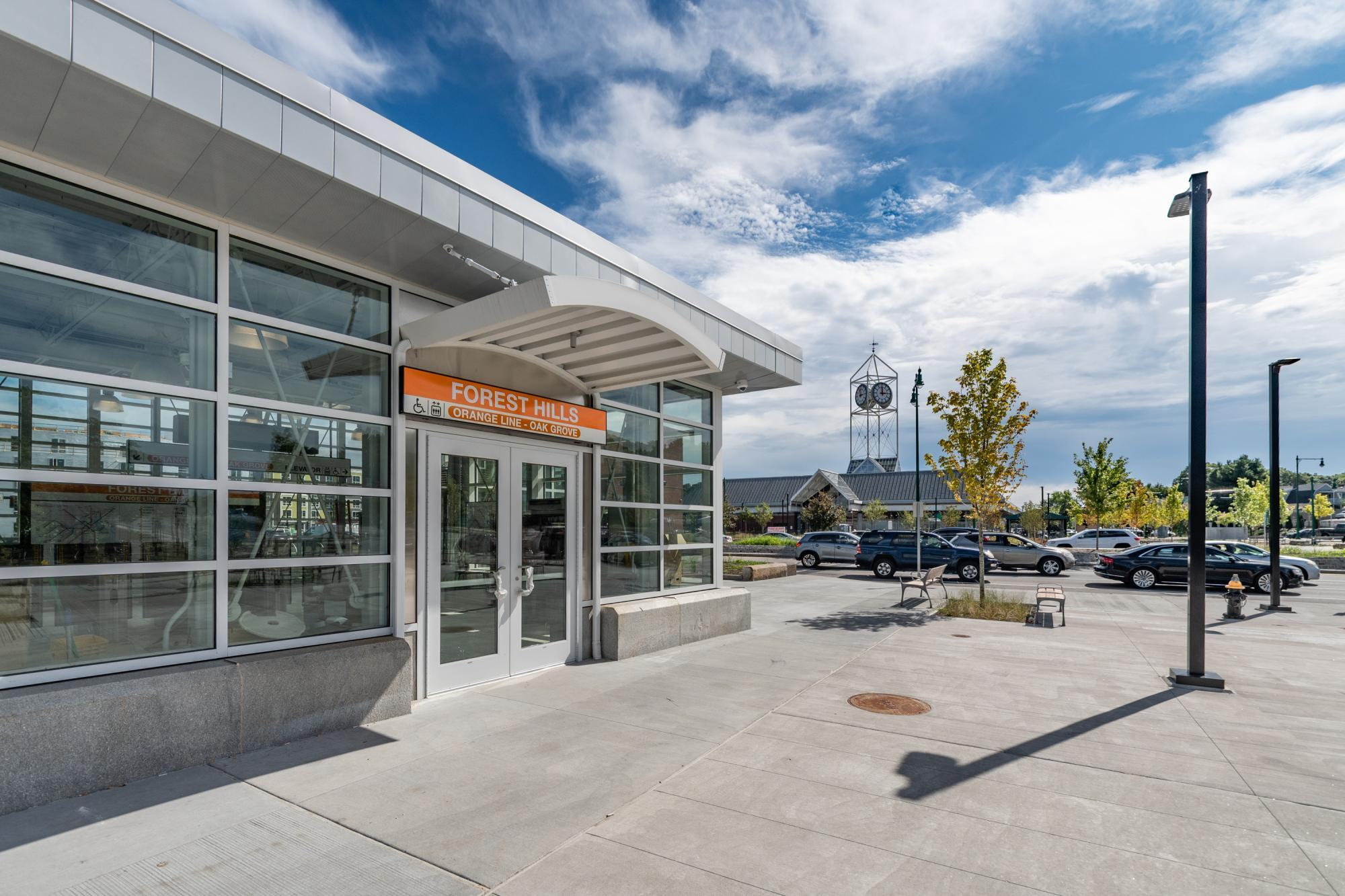 A new, fully accessible entrance to the Orange Line platform at Forest Hills opened in October 2019.