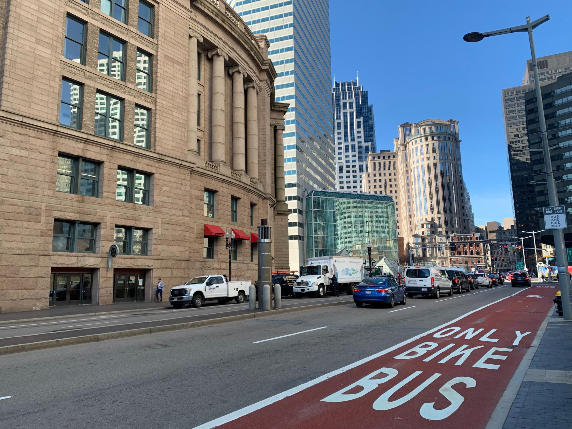 The new dedicated bus lane on Summer Street outside of South Station