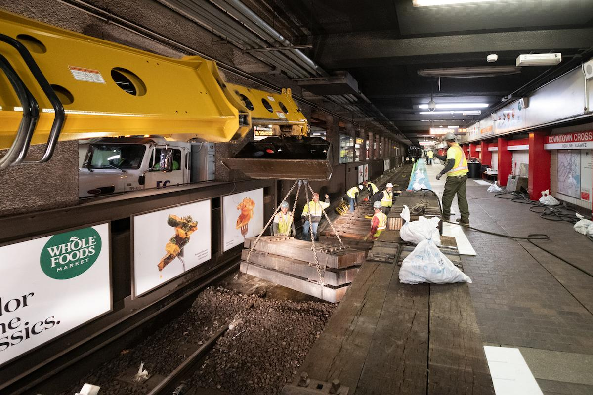 A crew works on track replacement at Downtown Crossing during the November 15– 17, 2019, weekend shutdown.