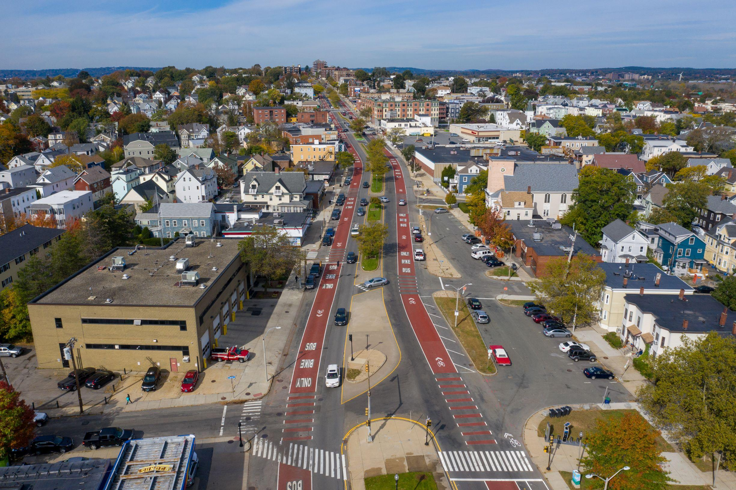 An overhead shot of Broadway in Somerville, where a bus lane has been implemented