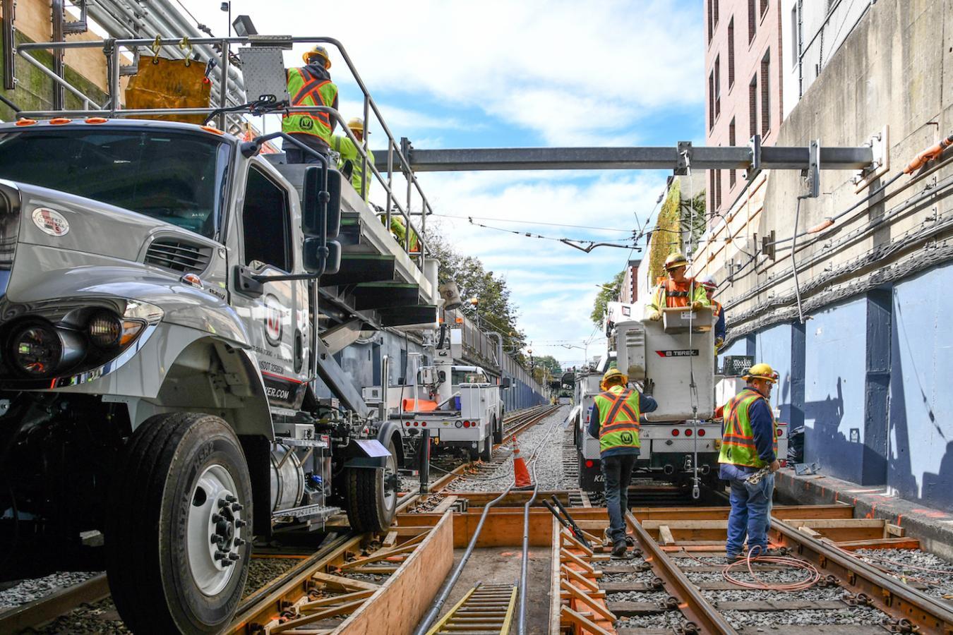Crews work on the tracks near the Fenway Portal