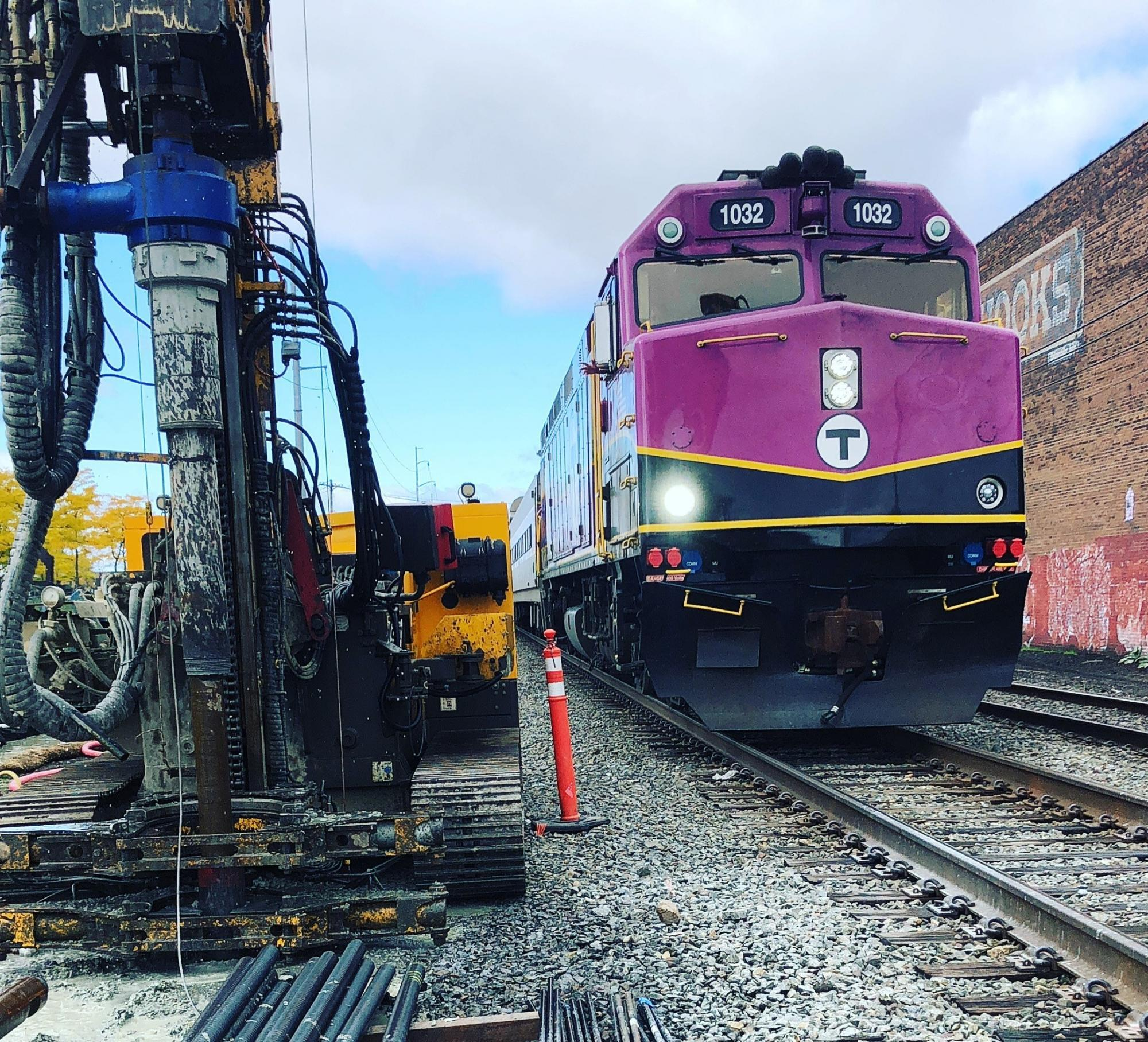 A boring machine and Commuter Rail car outside of Chelsea Station