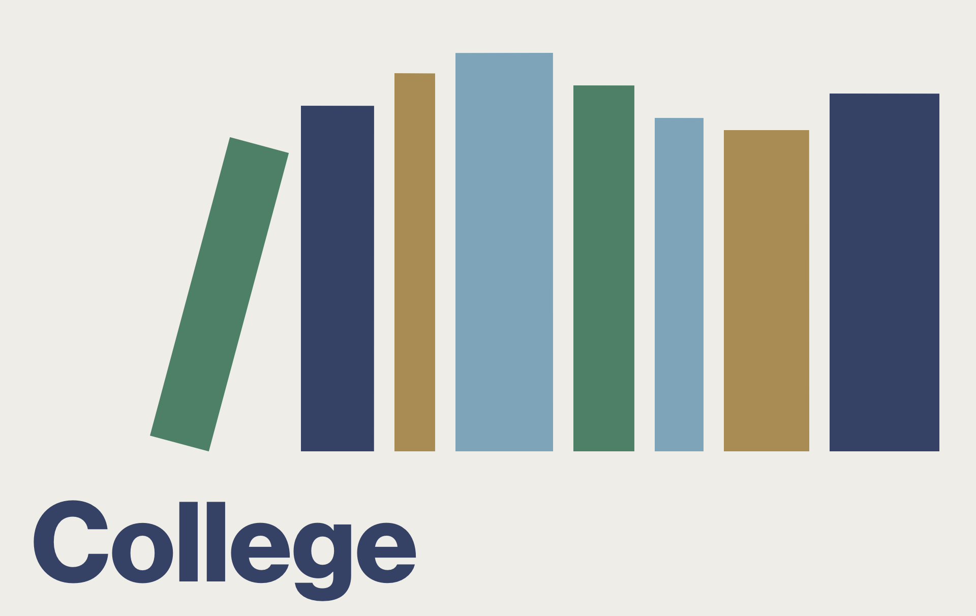 """Clickable graphic that resembles books on a bookshelf. Text reads """"College."""""""
