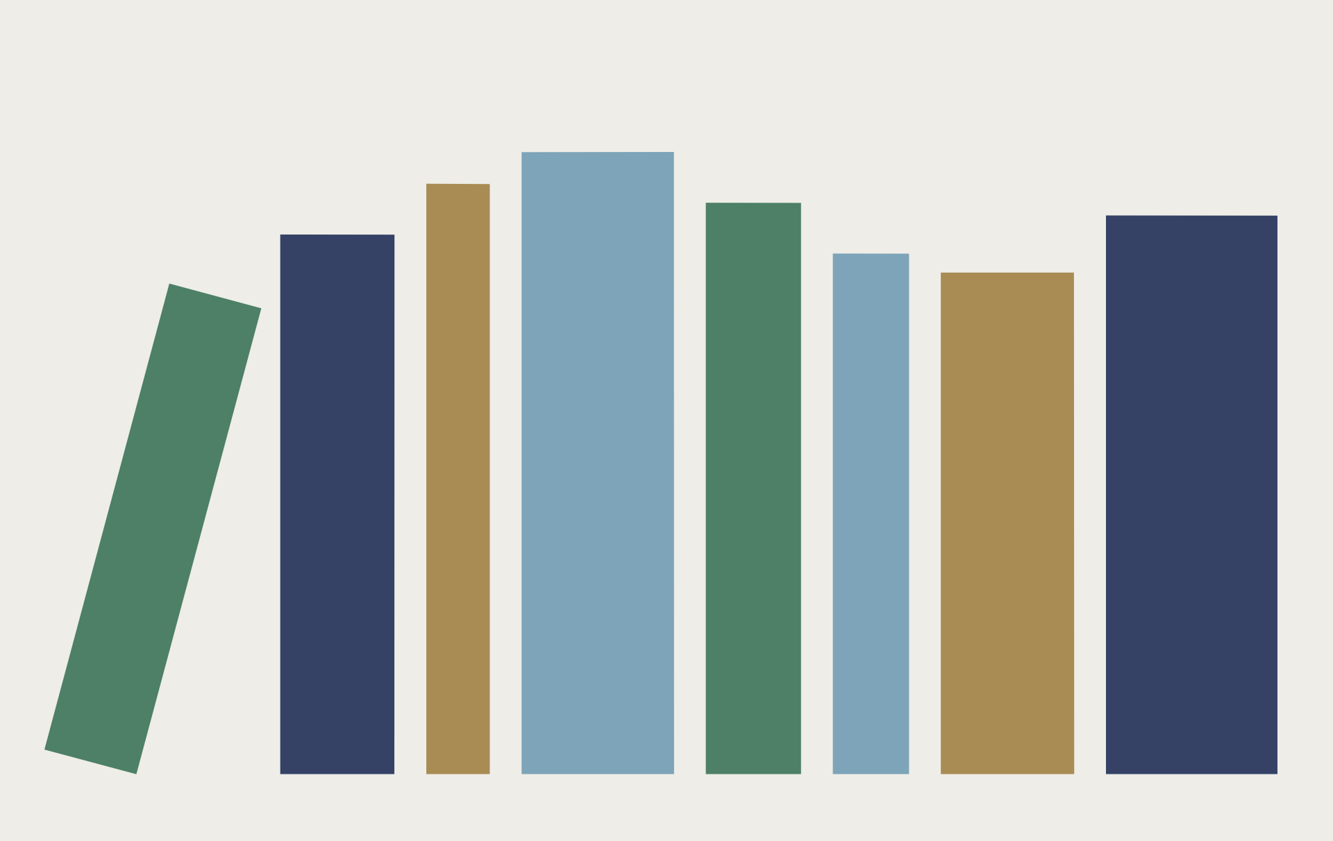 Clickable graphic that resembles books on a bookshelf
