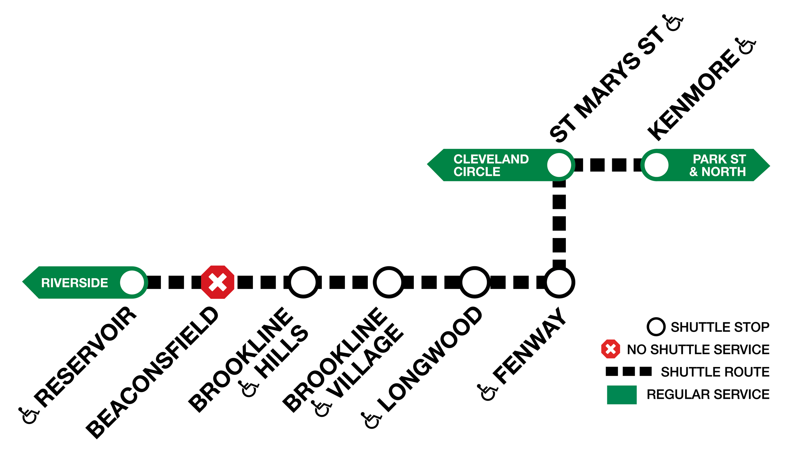 Combined diversion graphic of the Green Line C and D branches. Shuttles run Reservoir to Fenway, then go to St. Mary's Street, then to Kenmore. No service at Beaconsfield.