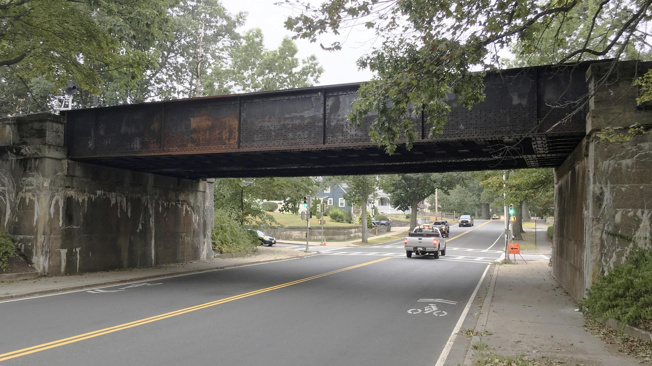 The existing Lynn Fells Parkway bridge on the Haverhill Line of the Commuter Rail