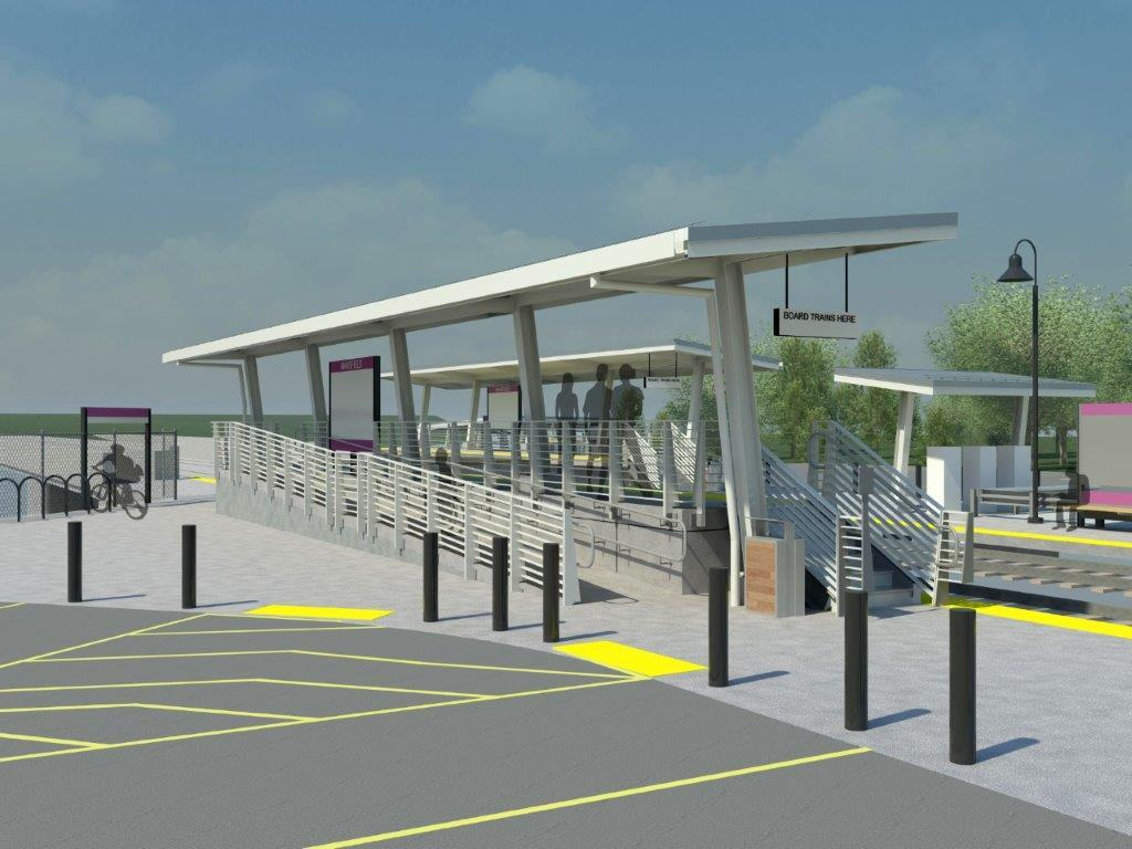 A rendering of the new mini-high platform at Mansfield Commuter Rail Station