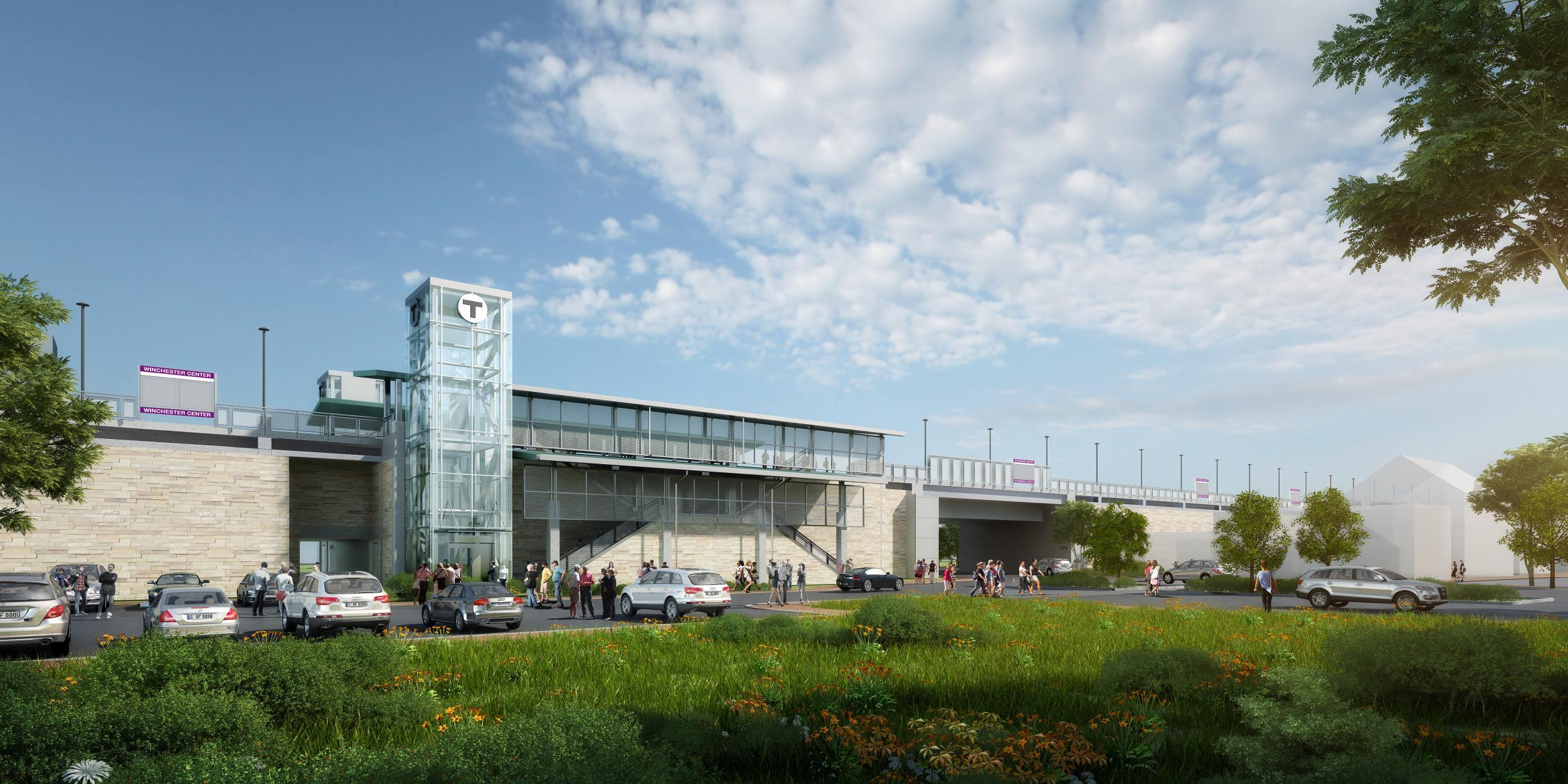 A rendering shows what Winchester Station will look like after accessibility improvements, with a new elevator, station signage, people in the parking lot, as viewed from the from the Aberjona parking lot.