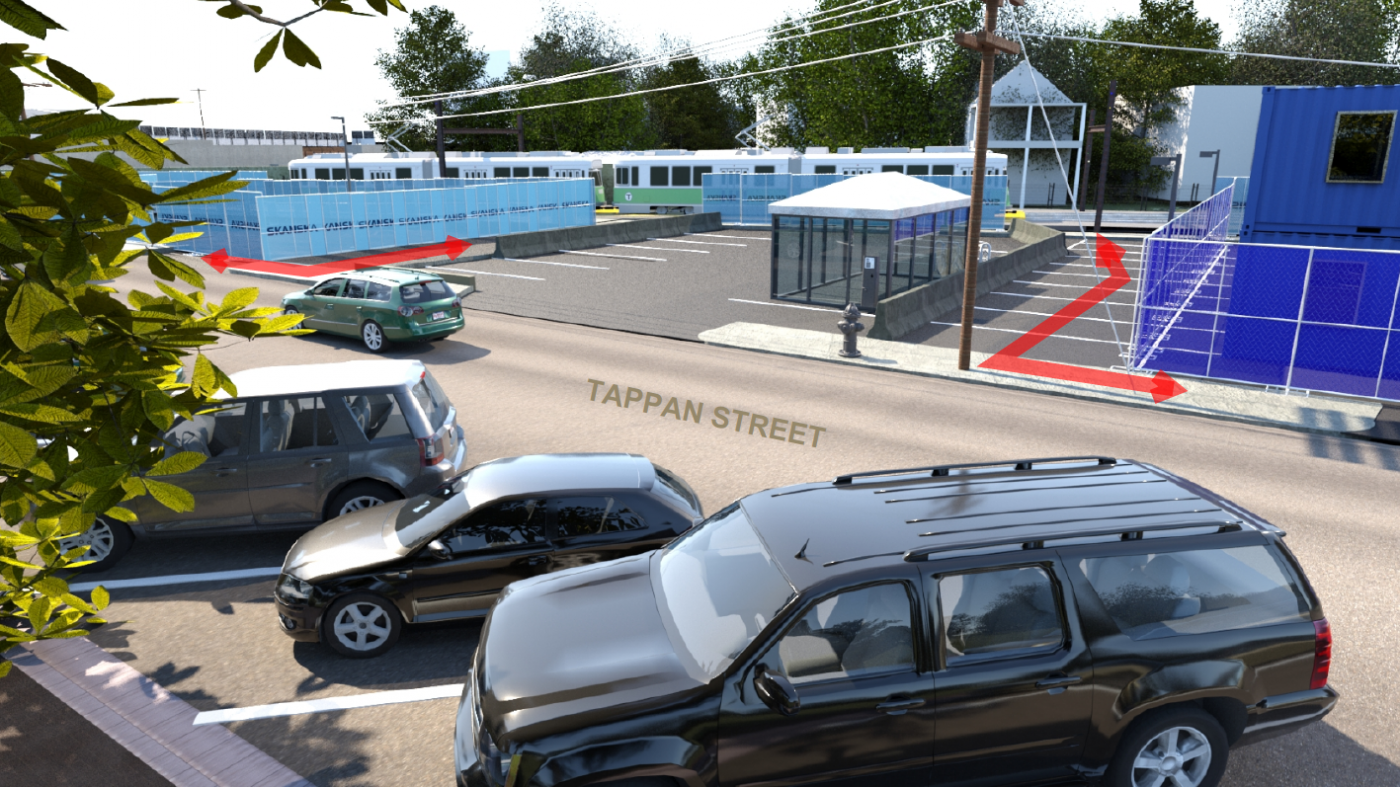 A rendering of changes to the pedestrian access routes at Brookline Hills Station