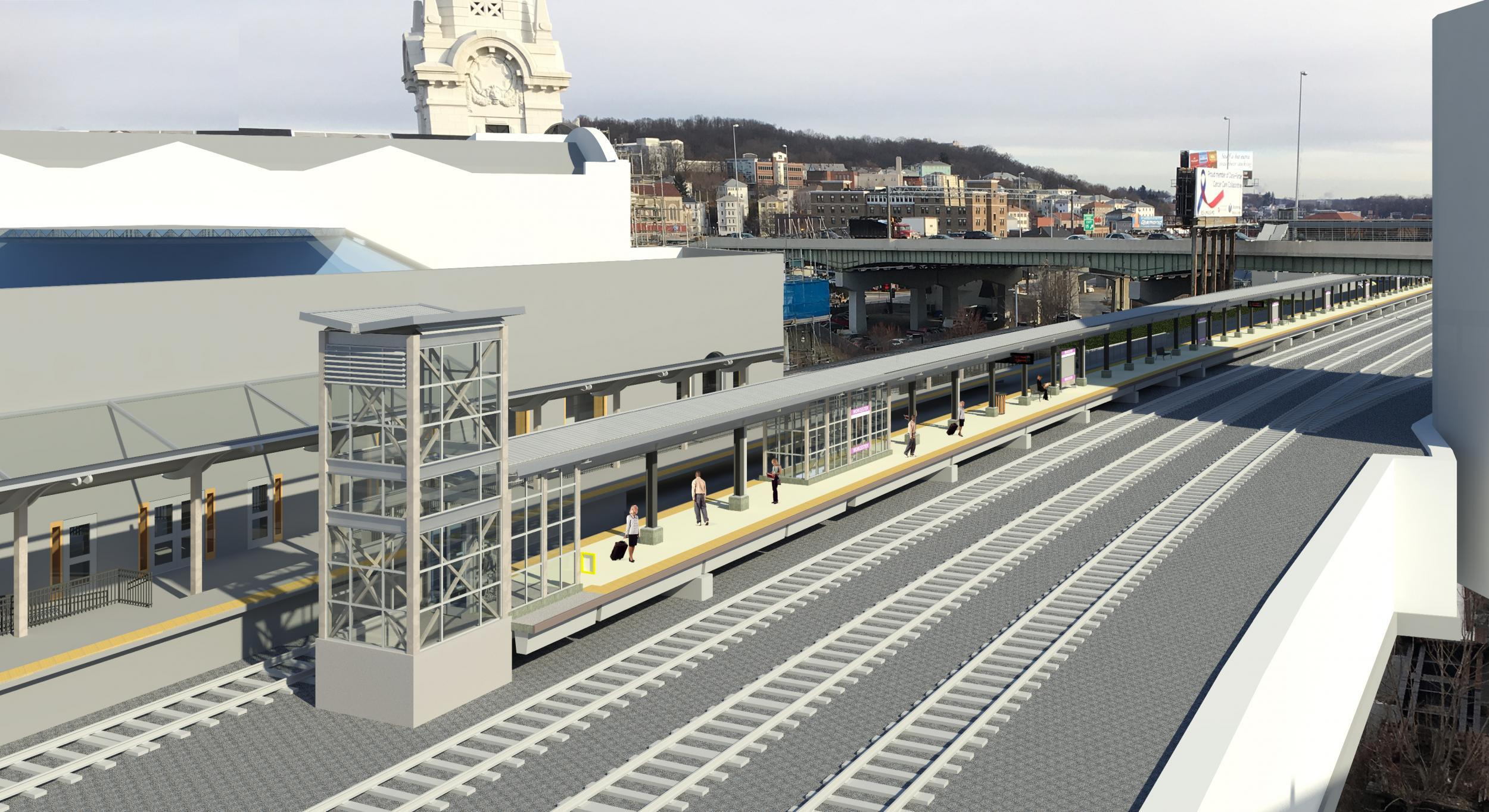 A rendering of the proposed changes at Worcester Station as viewed from the garage roof