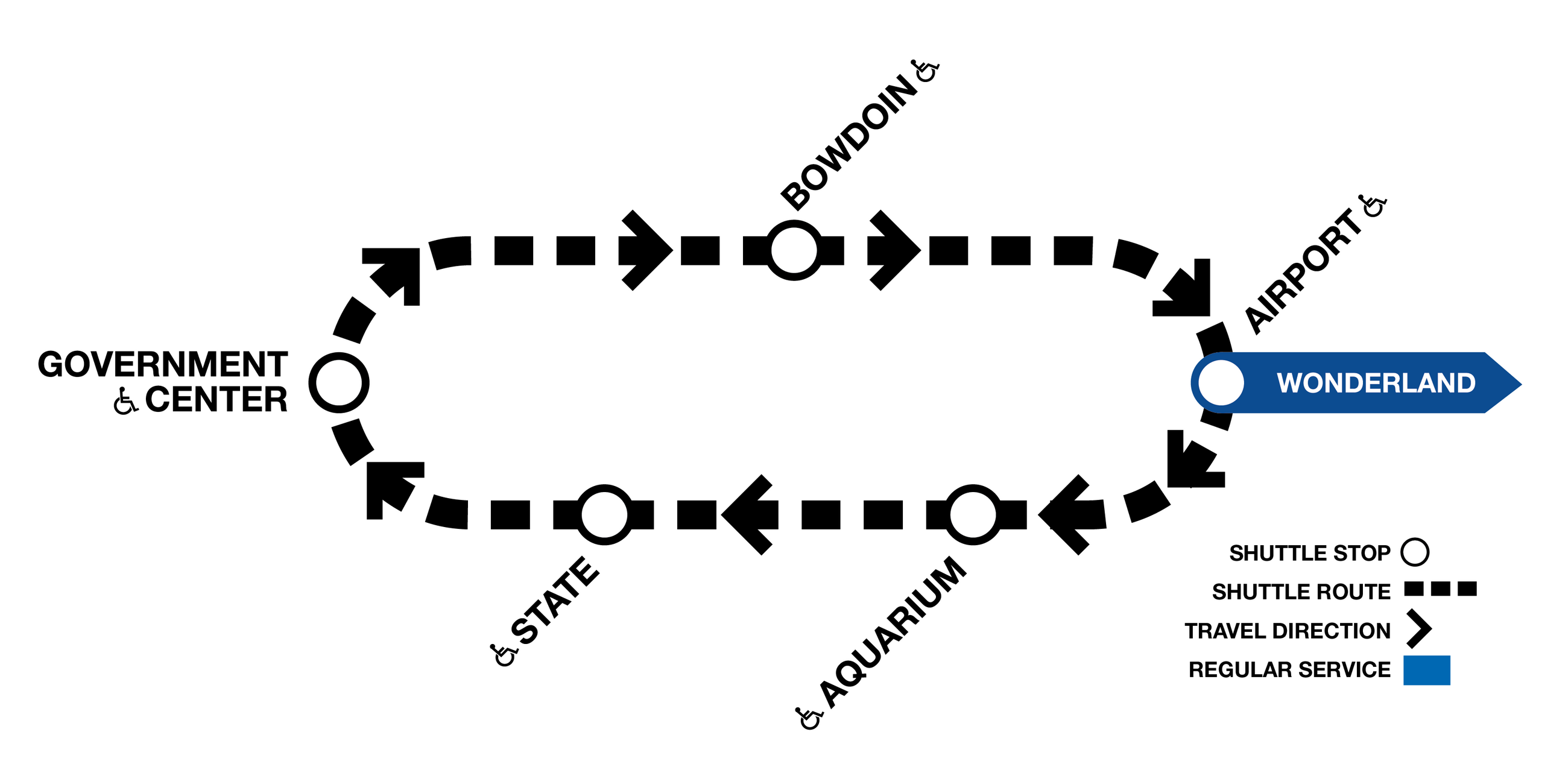Express shuttle map between Airport and Government Center