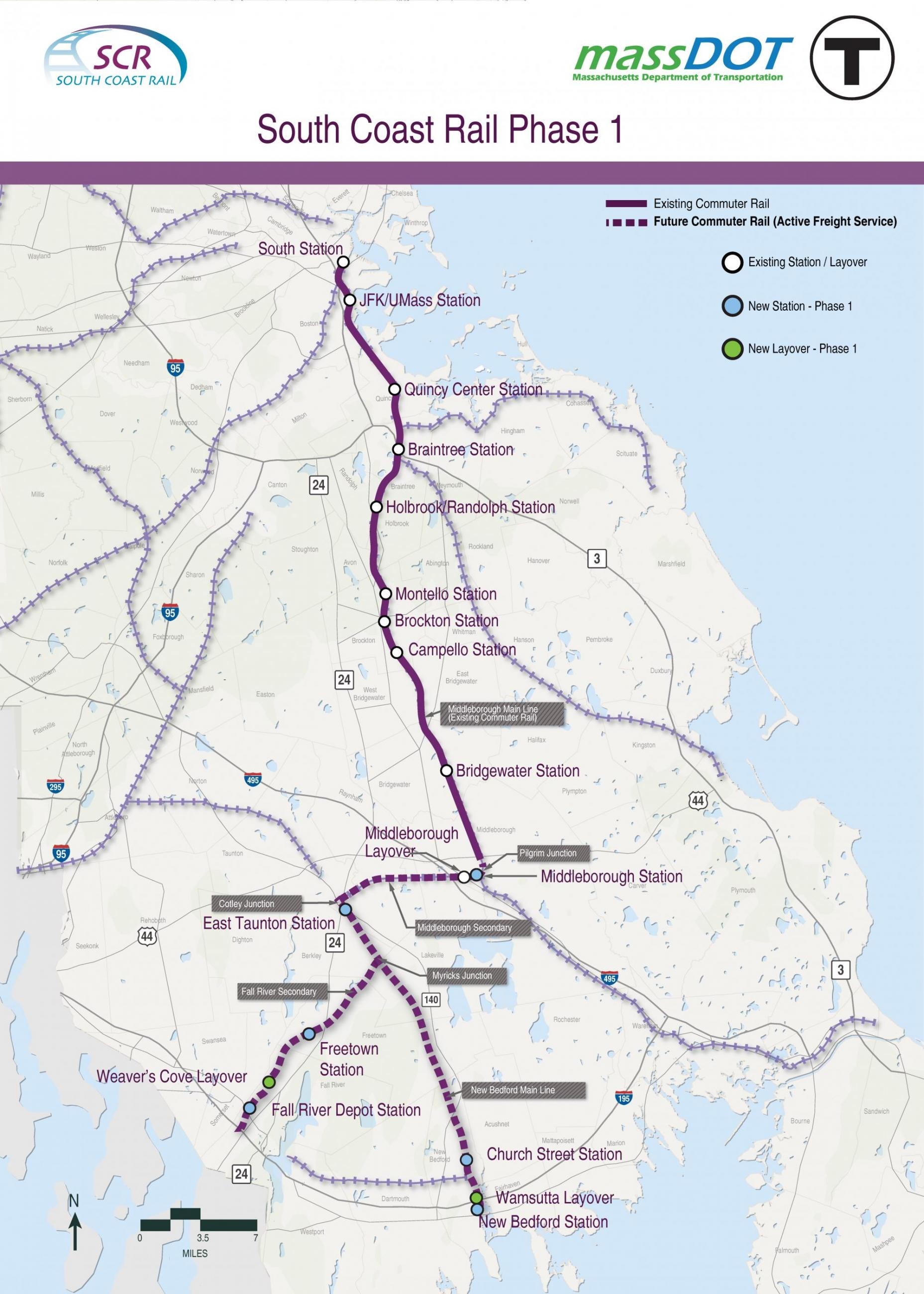 A map of the South Coast Rail Phase 1 corridor showing the Fall River Secondary, New Bedford, and Middleborough Secondary lines and stations