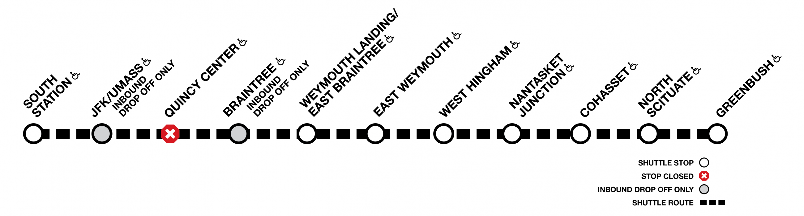 On the Greenbush line, shuttles run between South Station and Greenbush, with no service at Quincy Center. Braintree and JFK/UMass are drop-off only on inbound trips.