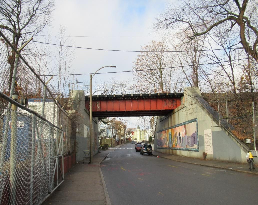 The East Cottage Street Bridge carries the Fairmount Line through Roxbury and Dorchester