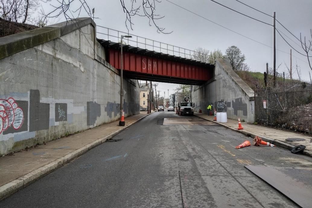 The Norfolk Avenue Bridge carries the Fairmount Line through Dorchester and Roxbury