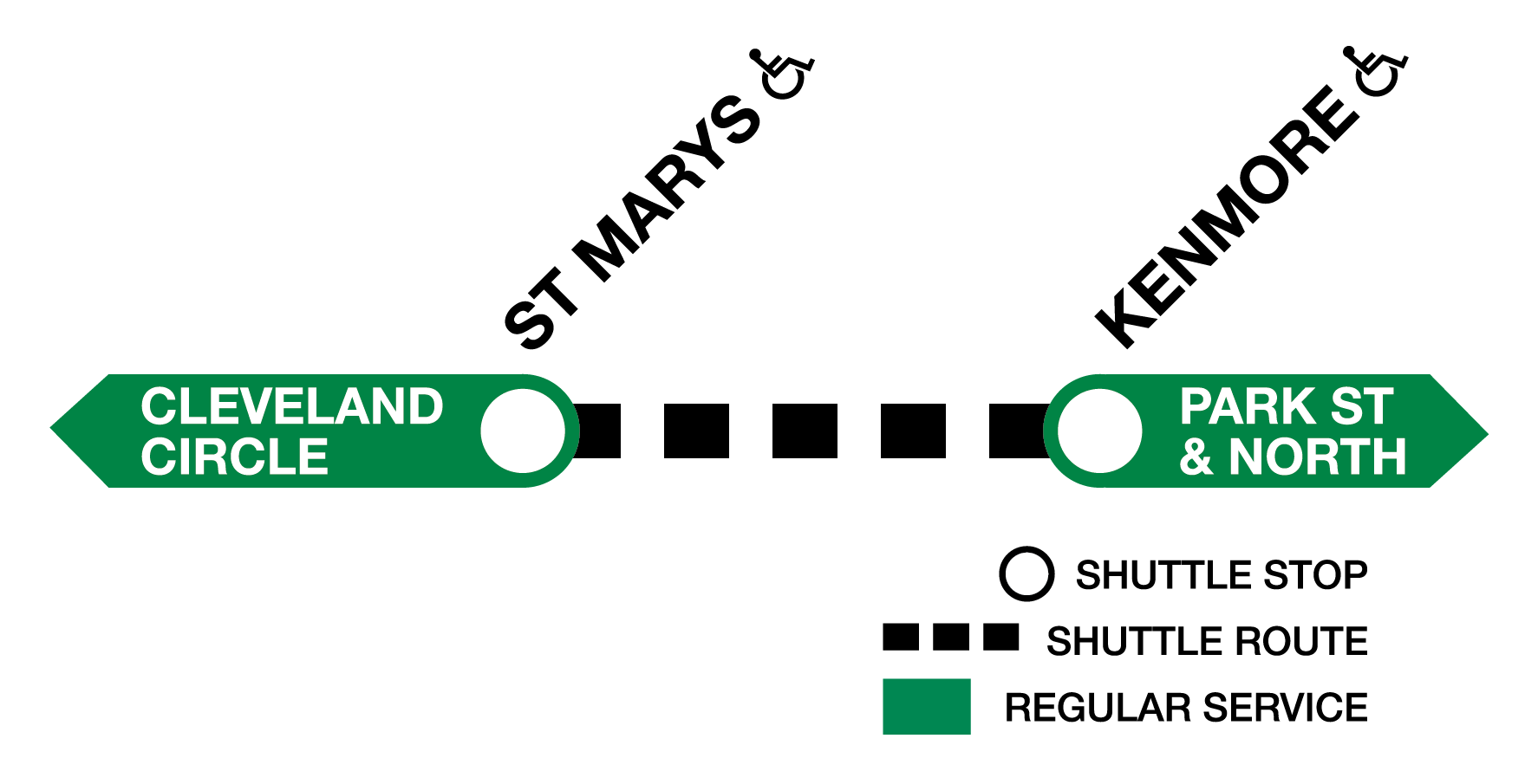 Green Line C branch diagram showing shuttle service between St. Mary's Street and Kenmore.