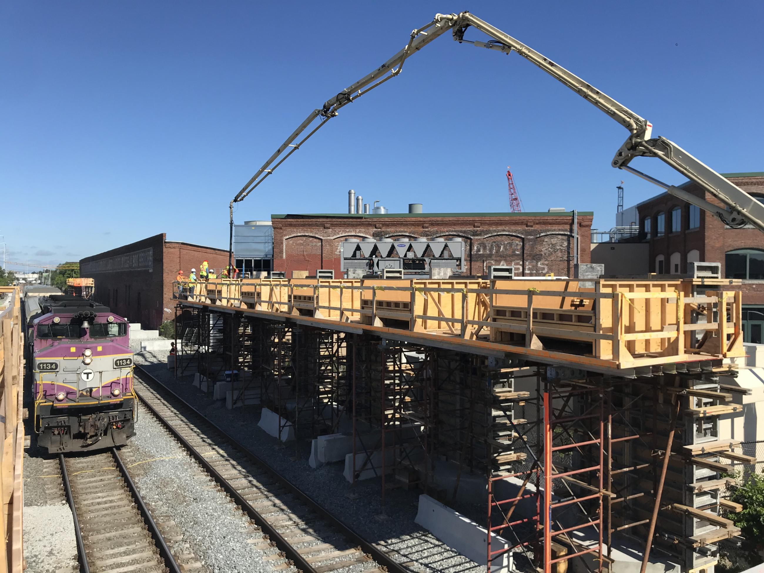 The new walls for the inbound platform are installed at Chelsea Commuter Rail Station