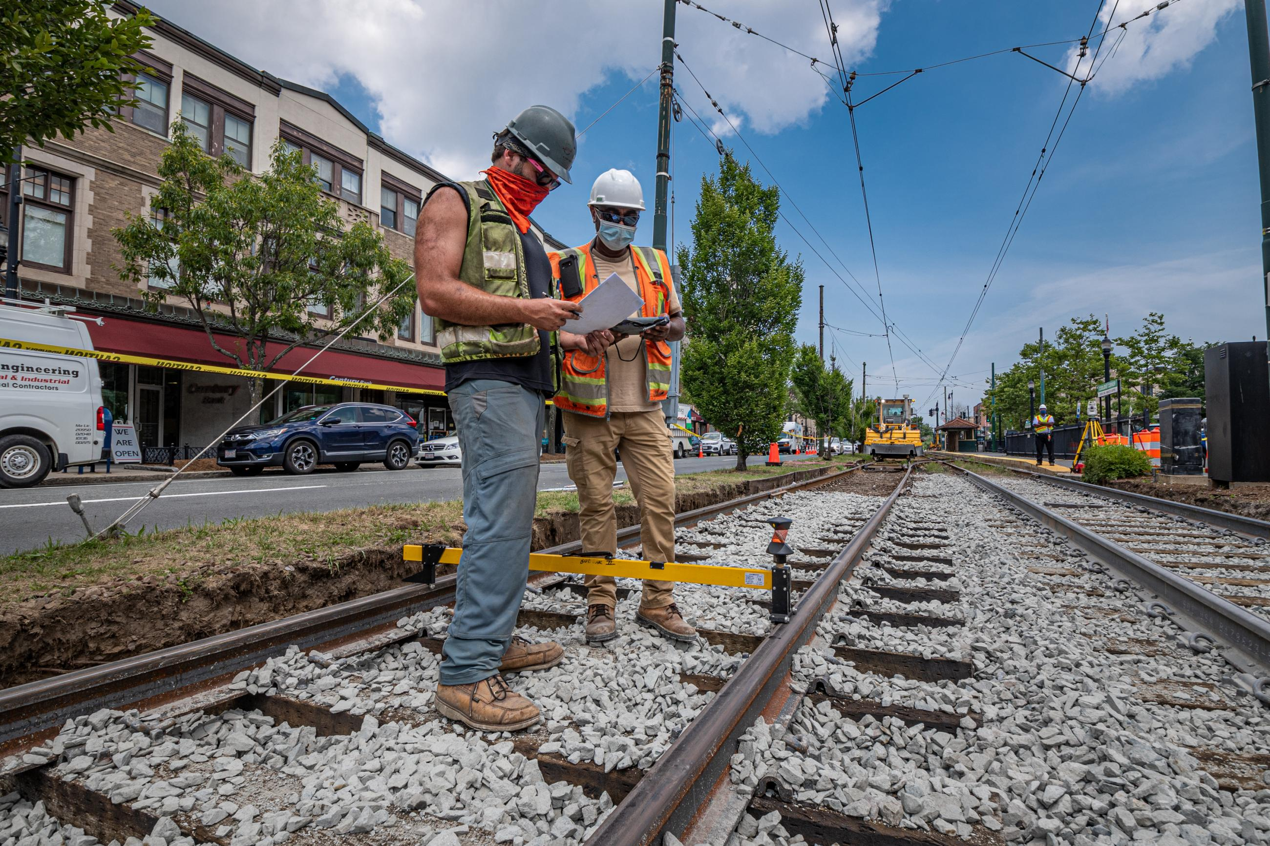 Crew members preparing for track work on the Green Line C Branch