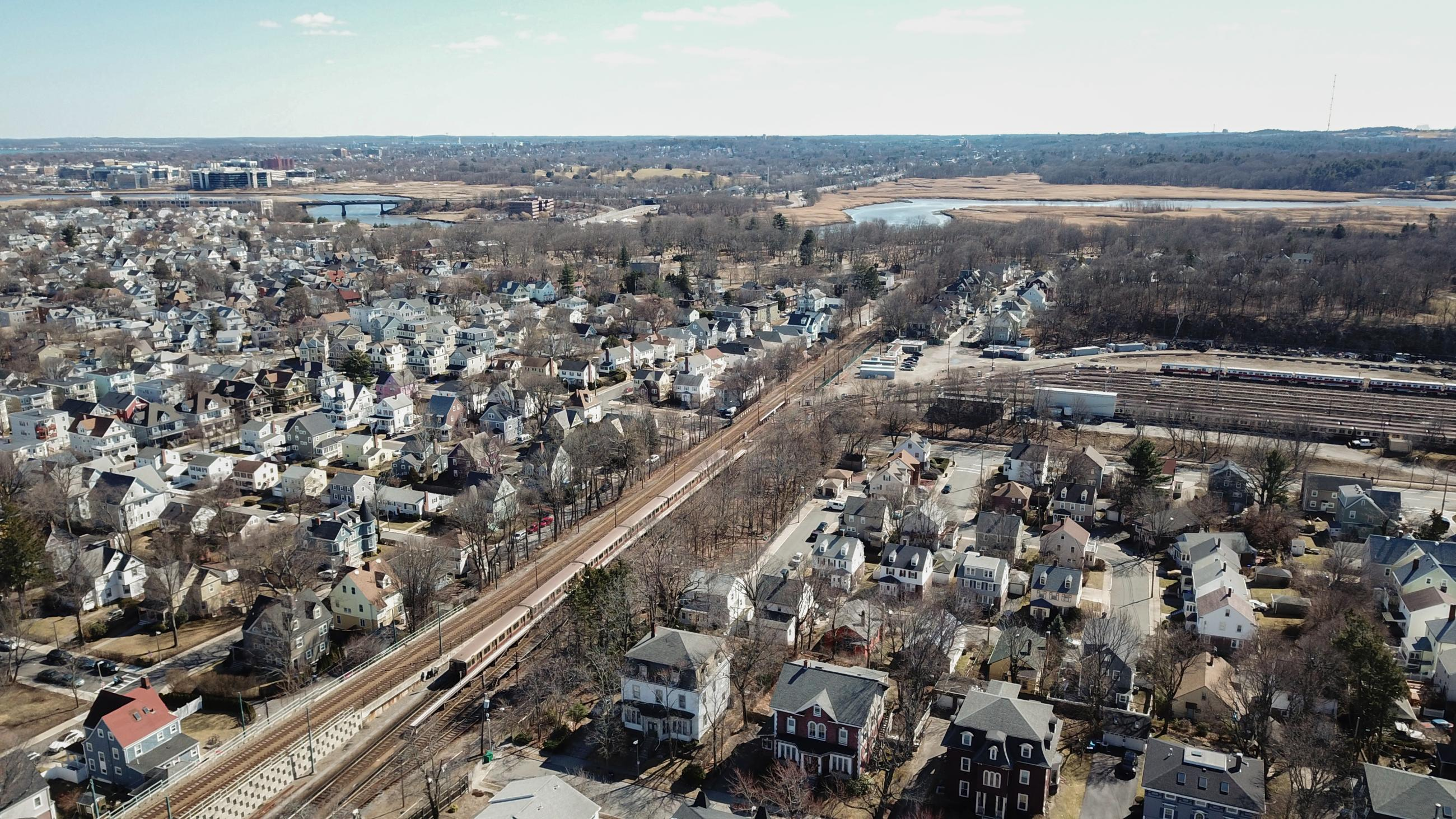 An aerial view of Codman Yard, where Red Line vehicles are stored each night