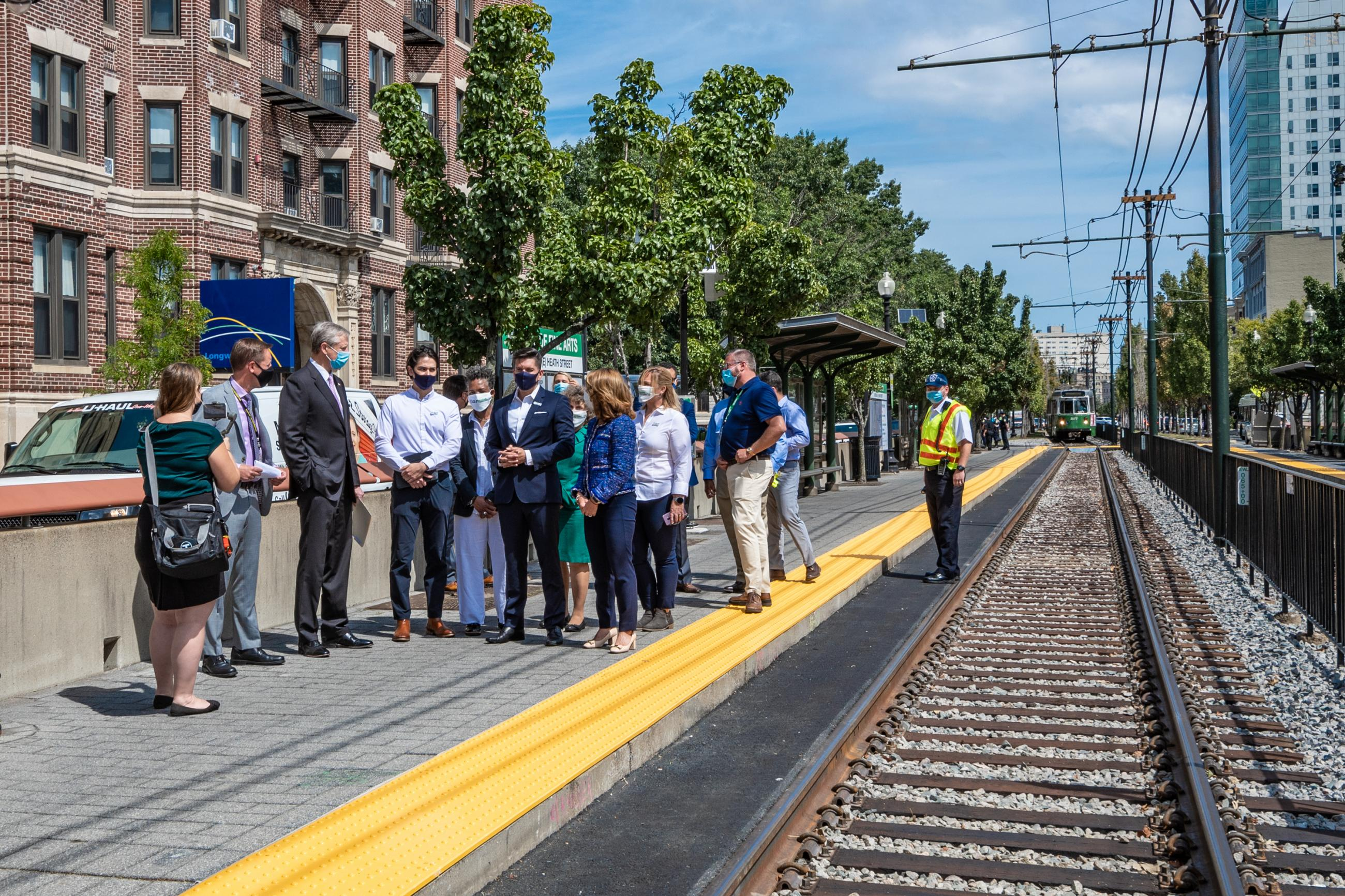Governor Baker, Lieutenant Governor Polito, MassDOT Secretary Pollack, MBTA General Manager Poftak toured accelerated Green Line E Branch work at Museum of Fine Arts Station led by the MBTA's Green Line Transformation Team.