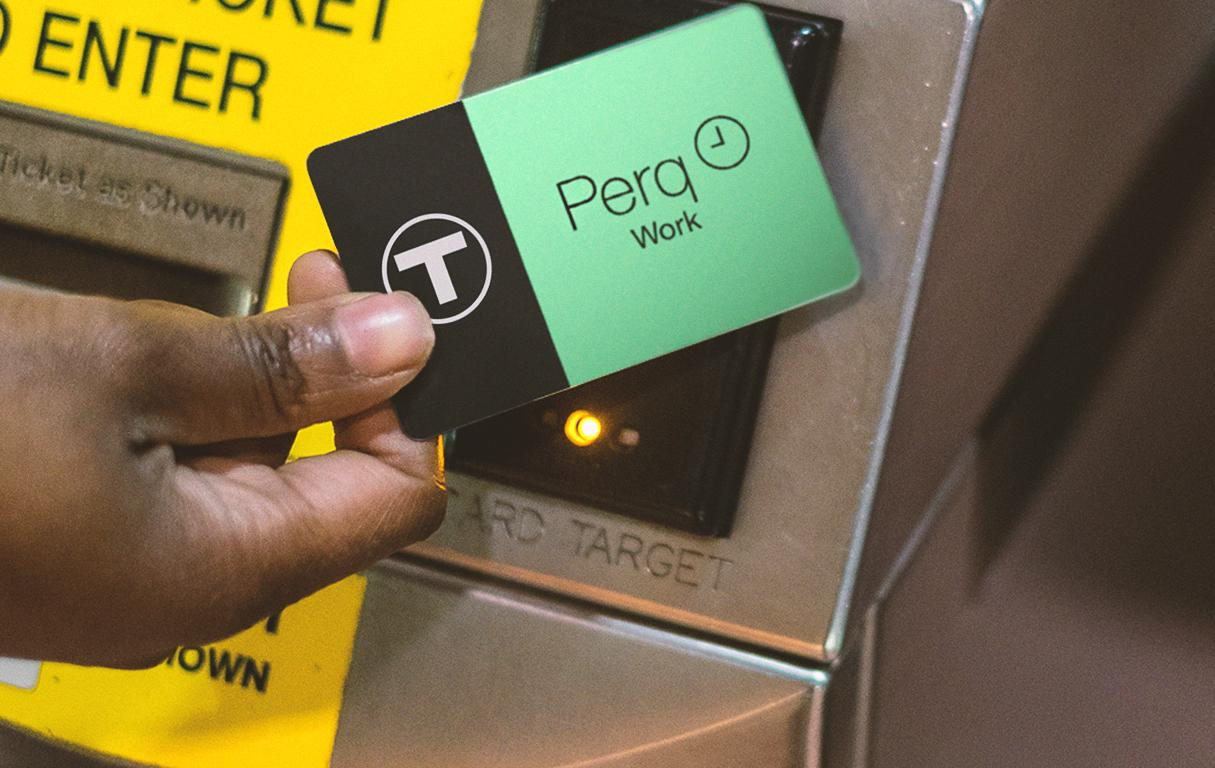 A rider tapping a Perq card at a fare gate
