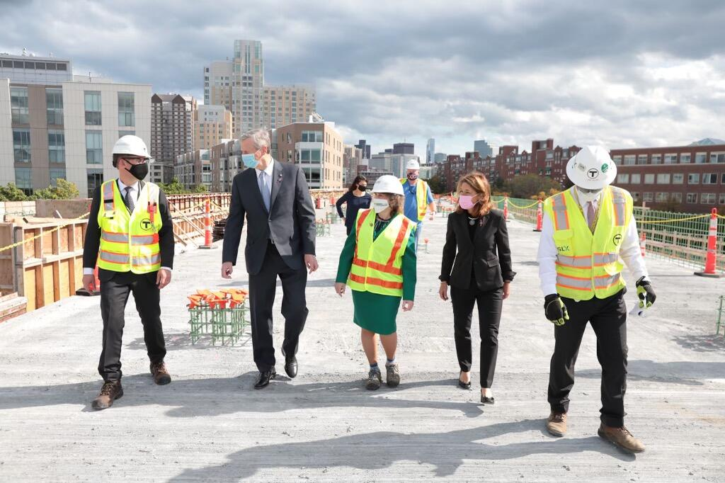 MBTA General Manager Steve Poftak, Governor Charlie Baker, Transportation Secretary and CEO Stephanie Pollack, Lt. Governor Karyn Polito, GLX Project Manager John Dalton, and others tour GLX construction.